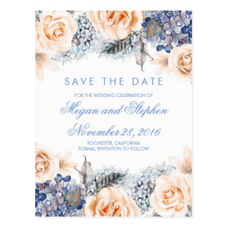 Blue and Peach Flowers Watercolor Save the Date Postcard