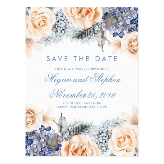 Blue and Peach Flowers Watercolor Save the Date