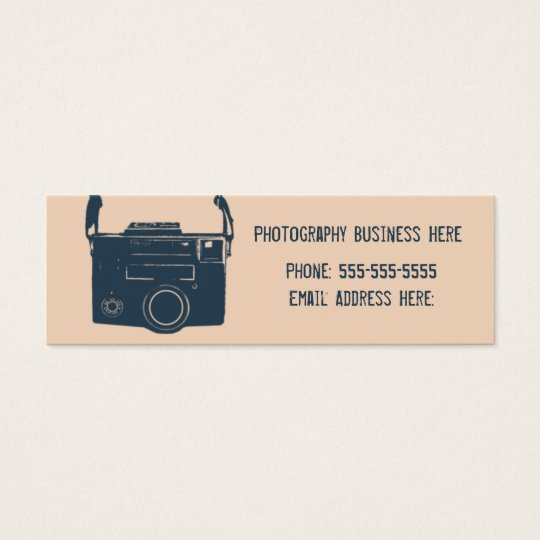 Blue and Peach Retro Film Camera Business Card