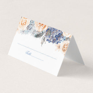 Blue and Peach Watercolor Floral Wedding Place Card