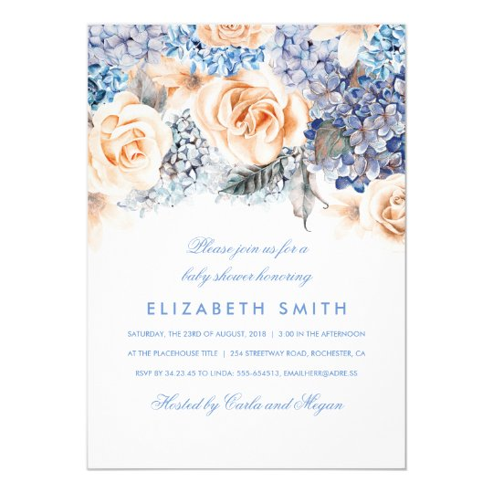 Blue and Peach Watercolor Florals Baby Shower Card