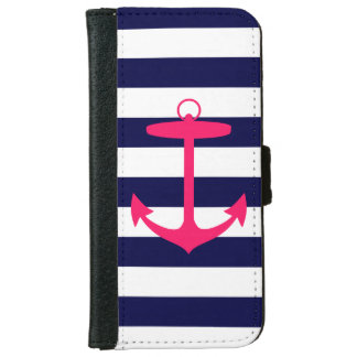 Blue and Pink Anchor iPhone 6 Wallet Case