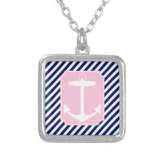 Blue and Pink Anchor Silver Plated Necklace