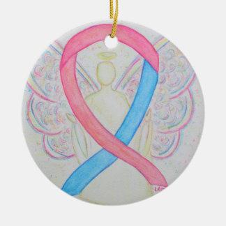 Blue and Pink Awareness Ribbon Angel Art Ornaments