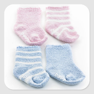 Blue and pink baby socks square sticker