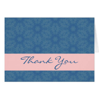 Blue and Pink Big Flowers Elegant Thank You H209 Greeting Card
