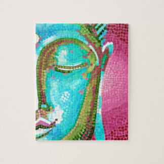 Blue and Pink Buddha Face Mosaic Jigsaw Puzzle