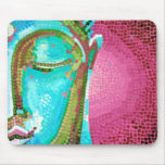 Blue and Pink Buddha Face Mosaic Mouse Pad
