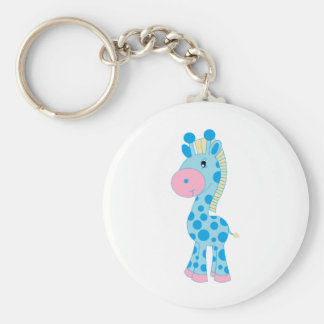 Blue and Pink Cartoon Baby Giraffe Basic Round Button Key Ring
