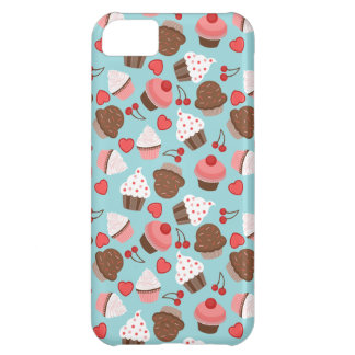 Blue And Pink Cupcakes, Hearts And Cherries iPhone 5C Case
