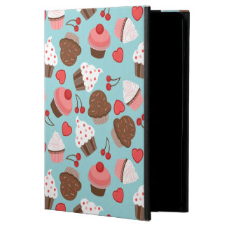 Blue And Pink Cupcakes, Hearts And Cherries iPad Air Covers