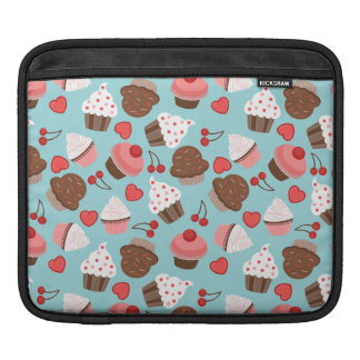 Blue And Pink Cupcakes, Hearts And Cherries iPad Sleeve