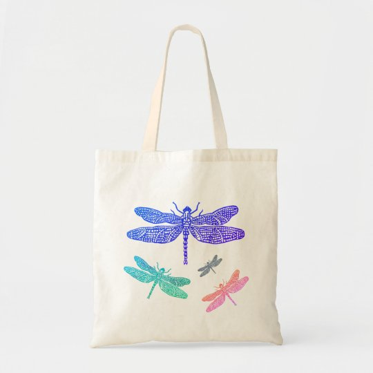 Blue and Pink Dragonfly Tote