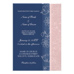 Blue and Pink Floral Wedding Invitation Cards
