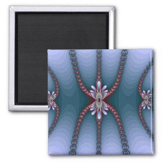 Blue and Pink Fractal Lady Spider Design Square Magnet