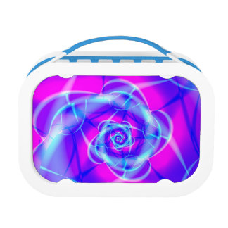 Blue and pink fractal lunch box