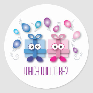 Blue and Pink Gift Boxes - Gender Reveal Classic Round Sticker