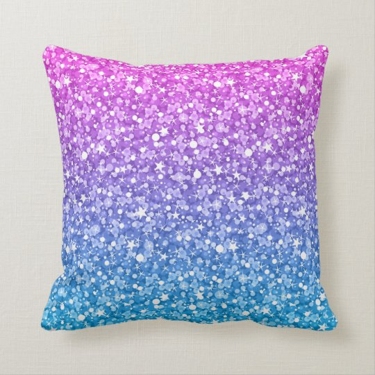 Blue And Pink Glitter With White Cushion