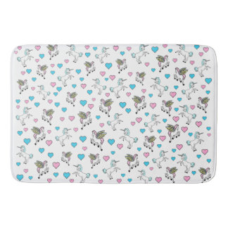 Blue and Pink Hearts, Unicorns and Pegasus Bath Mat