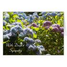Blue and Pink Hydrangea sympathy Card