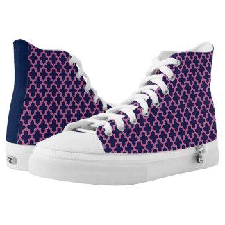 Blue and Pink Modern Geometric Pattern High Tops