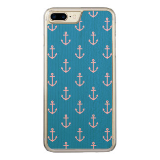 Blue and Pink Nautical Anchor Pattern Carved iPhone 8 Plus/7 Plus Case