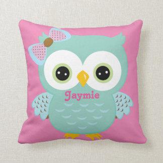 Blue and Pink Owl Baby Keepsake Cushion