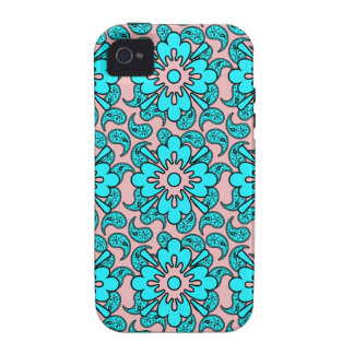 Blue And Pink Paisley Phone Case Case-Mate iPhone 4 Cover