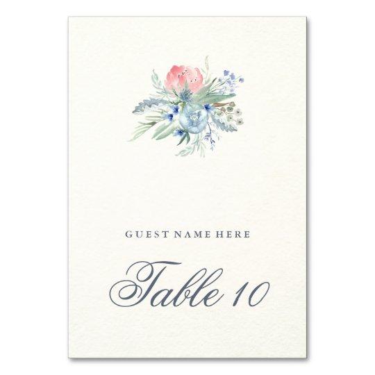 Blue and Pink Peonies Wedding Escort Card