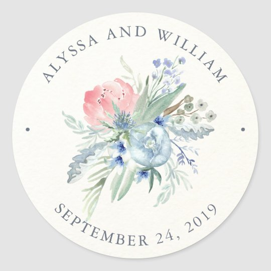 Blue and Pink Peony Watercolor Wedding Classic Round