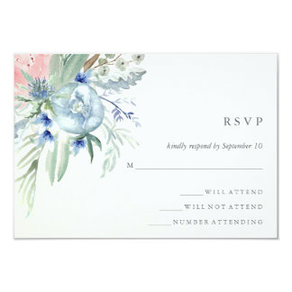 Blue and Pink Peony Watercolor Wedding RSVP Card