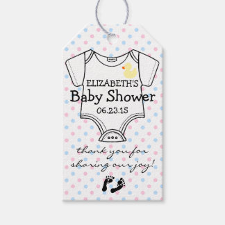 Blue and Pink Polka Dots Baby Shower Favor Gift Tags