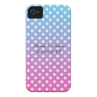 Blue and pink polka dots wedding favors iPhone 4 Case-Mate cases