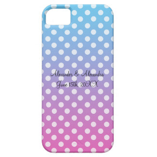 Blue and pink polka dots wedding favors iPhone 5 cover