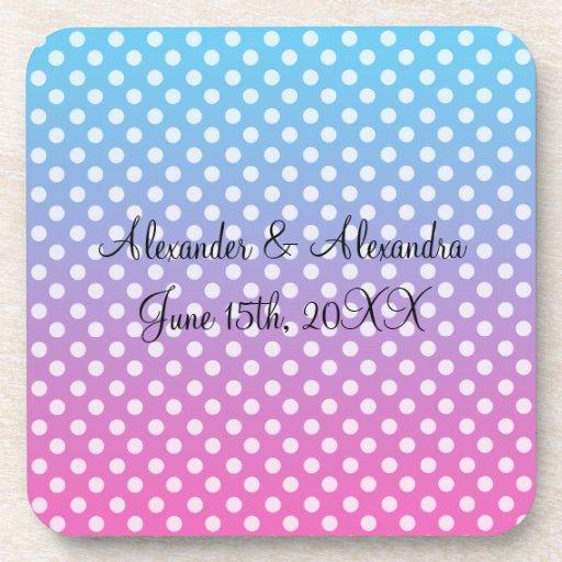 Blue and pink polka dots wedding favors coaster