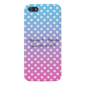 Blue and pink polka dots wedding favors iPhone 5 cases