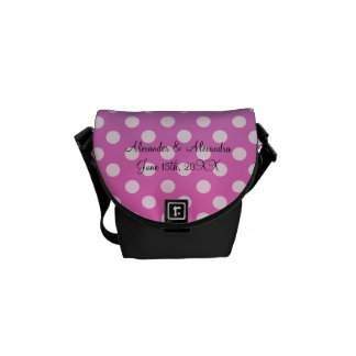 Blue and pink polka dots wedding favors courier bag