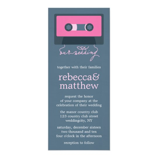 Blue and Pink Retro Mixtape Wedding Card
