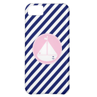 Blue and Pink Sailboat iPhone 5C Cases