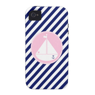 Blue and Pink Sailboat Vibe iPhone 4 Cover