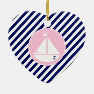 Blue and Pink Sailboat Ceramic Heart Decoration