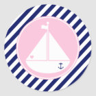 Blue and Pink Sailboat Classic Round Sticker