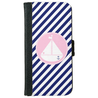 Blue and Pink Sailboat iPhone 6 Wallet Case