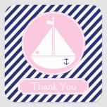 Blue and Pink Sailboat  Thank You Square Stickers
