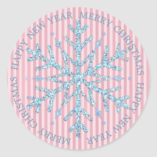 Blue and Pink Snowflake Merry Christmas Sticker