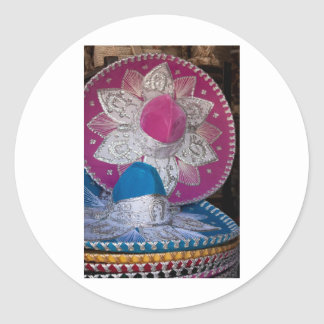 Blue and Pink Sombreros Classic Round Sticker