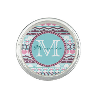 Blue and pink striped aztec pattern monogram photo ring