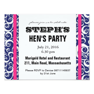 Blue and Pink Swirl Hen Party Invite