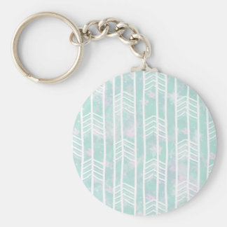 Blue and Pink Tribal Leaf Pattern Basic Round Button Key Ring