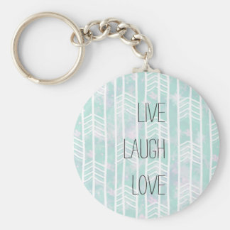 Blue and Pink Tribal Leaf Pattern live laugh love Basic Round Button Key Ring